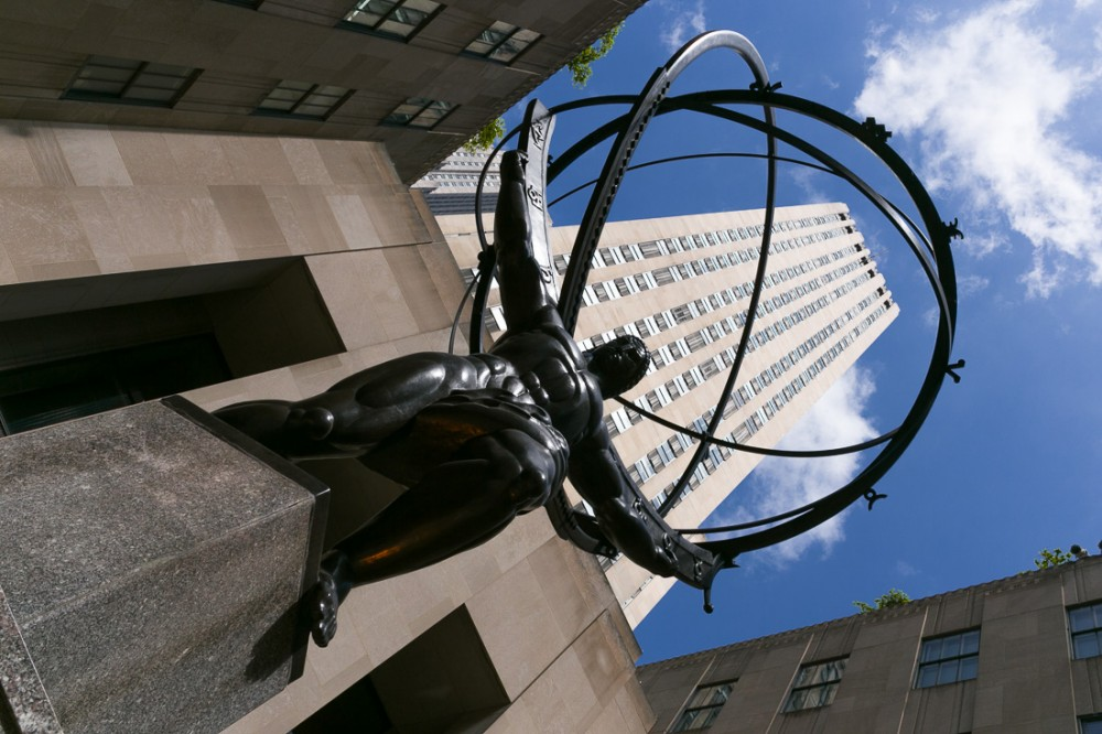 Atlas in front of International Building